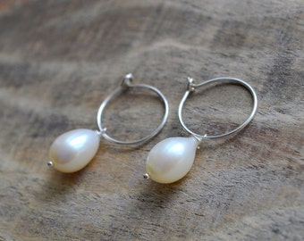 Silver Freshwater Pearl Drop Charm Earrings- Minimalist Earrings- Small Hoop Earrings