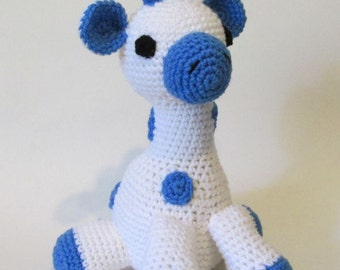 Baby Toy, Amigurumi Giraffe, Nursery, White and blue Giraffe, Crochet toy, Amigurumi Toy