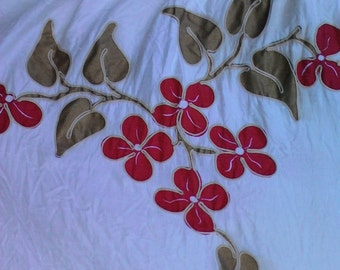 Pretty Vintage Drapes Flowers Leaves Curtains Household Red Flowers Living Room Dining Room Bedroom Guest Room