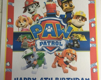 "Paw Patrol Wall or Door Sign 11"" X 17"""