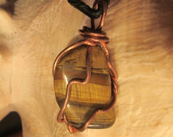 Faithful Lover,Tigers Eye Insight Pendant on Leather by Cosmic Soul Gems Crystal