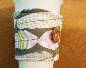 Feather Coffee Sleeve Cozy Coozie Cuff Gift Accessory