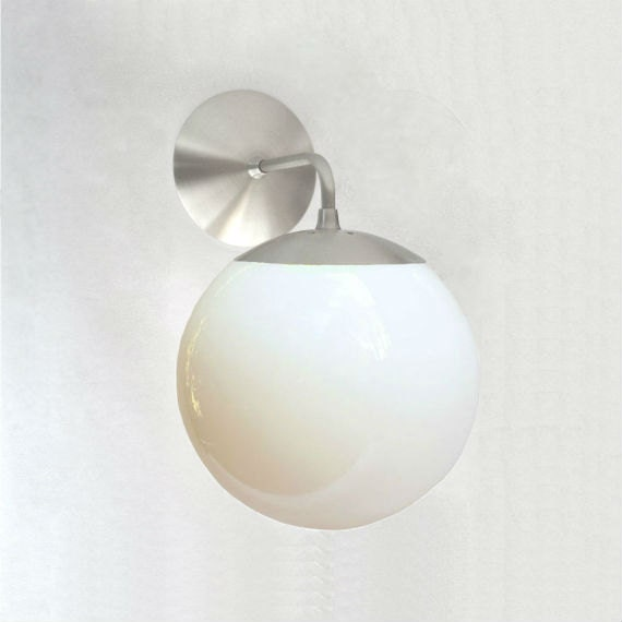 Mid Century Modern Wall Sconce 8 White Glass Globe The