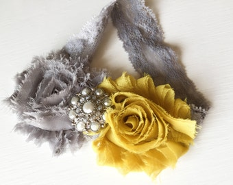 Hand Crafted Mustard Headband - Yellow and Gray - Mustard Yellow and Grey Headband - Shabby Flower Headband - Shabby Mustard Rose Headband