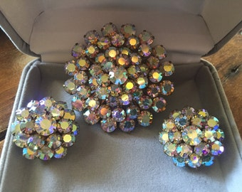 Vintage brooch and clip earrings