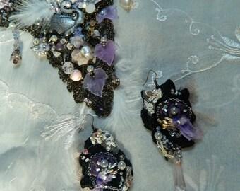 Swan black earrings RESERVED