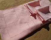 Pink Art Deco Tablecloth Handmade French Metis Linen  6 Matching Napkins Square Cut work Pattern