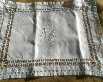 White Victorian Linen Doily Hand Embroidered Monogram Cut worked Edges Table Center #SophieLadyDeParis