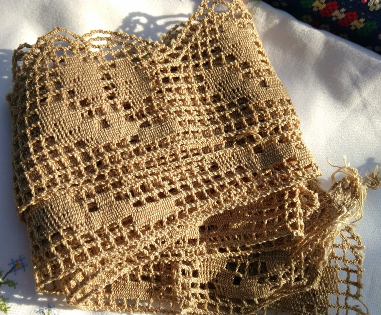 Victorian home decor lace long wide beige beige cotton for Lace home decor