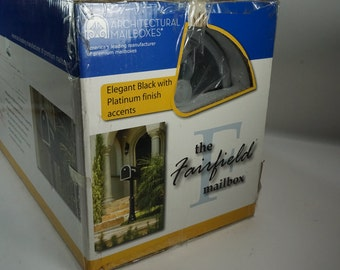 Architectural Mailbox,  The Fairfield Mailbox, NIP, Black Mailbox w/ Platinum Accent, No pole or post included