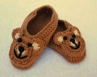 Child's Bear Slippers Handmade Crochet