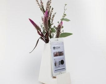 STAK Ceramics Bloom Phone Vase, White