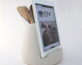 STAK Ceramics Kitchen Tablet Dock, Satin Speckle