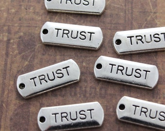10 TRUST Charms TRUST Pendants Antiqued Silver Tone  8 x 21 mm