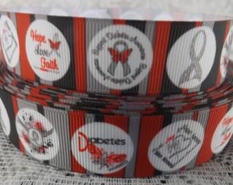 Diabetes Ribbon 7/8 grosgrain ribbon Diabetes Ribbon diabetes awareness ribbon