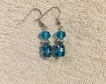 Aqua and Silver Earrings
