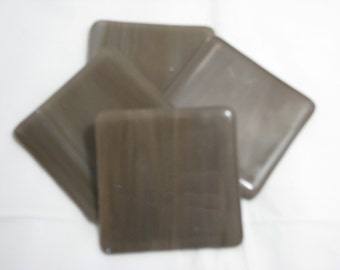 Brown and White 4X4 Fused Glass Coasters - Set of 4