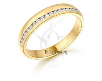 Diamond Eternity Rings, Womens 10K Yellow Gold  Diamond Wedding Bands,Anniversary Wedding Rings,Matching Wedding Bands