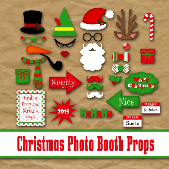 Christmas photo booth props and banner printable by oldmarket