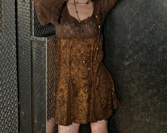Small Brown lace top dress made from upcycled repurposed clothing ecofashion ecofriendly refashion