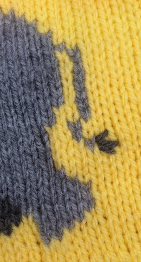 Pram Cover Knitting Pattern : Elephant baby blanket/pram cover knitting pattern, yellow and grey. from Bern...