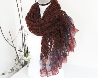 Maroon Shawl, Extra Large Shawl, Perforated wool shawls, Large size chestnuts scarves, Private unique product, Women's Christmas gift
