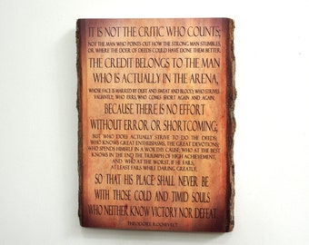 """Theodore Roosevelt """"Man in the Arena"""" quote on Wooden Plaque - Wood Sign with Saying - Rustic Wood Wall Art"""