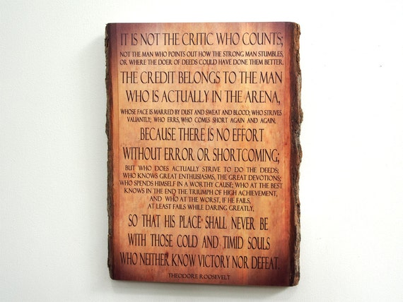 Quotes On Wood Wall Art : Theodore roosevelt man in the arena quote on