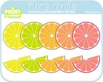 Instant Download Citrus Cliparts // Orange Clipart // Lemon Clipart // Lime Clipart // Fruit Clipart // Summer Clipart