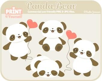 Instant Download Panda Bear Clipart // Panda Clipart // Panda Bear Clipart // Panda Bear // Bear Clipart // Valentine Clipart // Heart