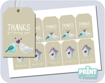 Bluebird Friendship Tags - Instant Download Printables
