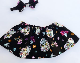 Day of the dead skirt.Baby day of the dead outfit. Festive sugar skull skirt. Dia De Los Muertos. Mexican Sugar Skull