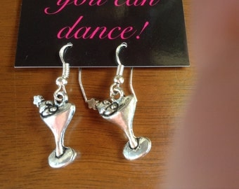 Silver martini glass earrings with olives