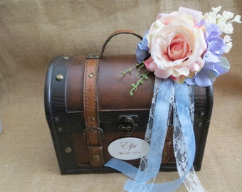 Pretty Stained Keepsake Trunk, Wedding Card Holder, Memory Box, Photo Box,  Wedding Suitcase, Rustic Wedding Box