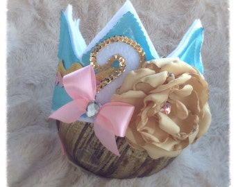 2nd Birthday Crown. Girls Shabby Birthday Crown. Ready to Ship. Vintage Style.