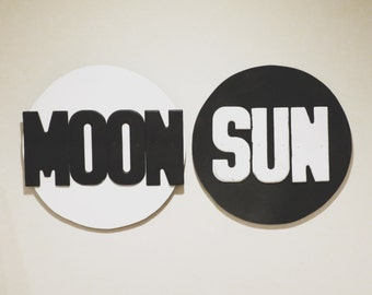 "MOON & SUN - assemblage on wood - 24""x24"""