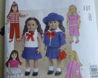 "McCall's 7370 Sailor Girl -  American Girl 18"" Doll pattern - uncut"