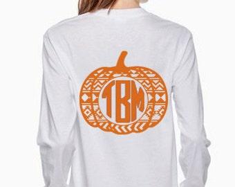 Women's Monogrammed Aztec Pumpkin Long Sleeved Shirt