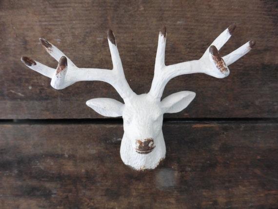 White DEER Head Metal KNOB Drawer Pull Cabinet Rustic