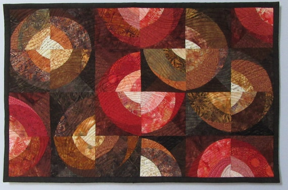 Art Quilt Circles Rust Peach Brown, Quilted Wall Hanging