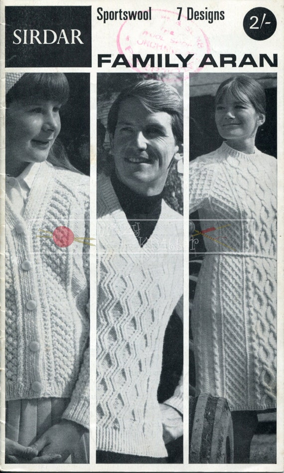 Family Aran Cardigans Sweater Dress Caps Sirdar DK 22-44in Vintage Knitting Pattern PDF
