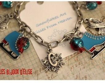 Personalized Ice Skate Charms Bracelet Winter Christmas Bracelet Holiday Bracelet