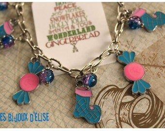Turquoise and Pink Enamel Charms Bracelet Candy and Christmas Stocking Charms Bracelet - Gift Under 10