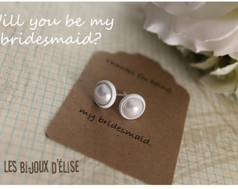 Sale - Bridesmaid Gift White Earrings Stud Bride White Pearl Earrings Will You Be My Bridemaid - White Earring Settings
