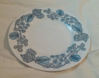On Sale Independence Whitestone 6.25 inch Salad/Dessert Plate with Blue and Gray Flowers Interpace Made in England
