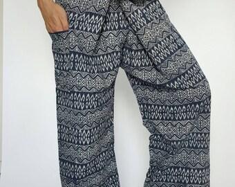 MH0047 Indigo Thai Fisherman Pants Wide Leg pants, Wrap pants, Unisex pants