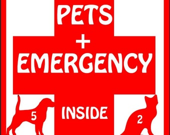 EMERGENCY PET(S) INSIDE decal  - Vinyl Decal - Window Decal- In case of Emergecy let everyone know you have pets inside your home