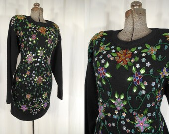 Vintage 1980s Dress - Large Black 80s Beaded Sweater Dress