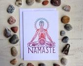 Namaste Greeting Card - 5x7 Recycled Card, yoga, yogi, lotus pose