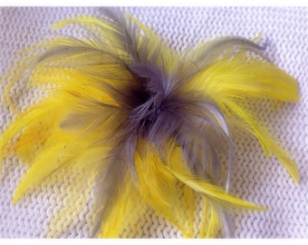 Yellow & Gray feather fascinator hair clip accessory white black
